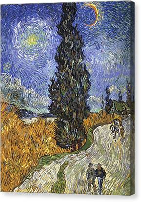 Country Road In Provence By Night Canvas Print by Vincent van Gogh