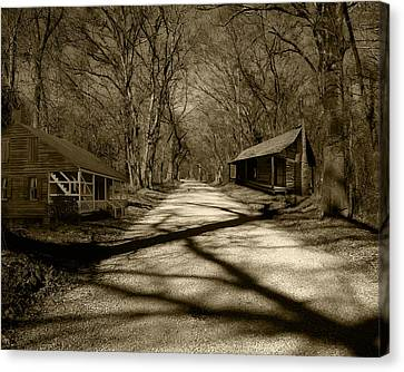 Canvas Print featuring the photograph Country Road In Sepia by Cecil Fuselier