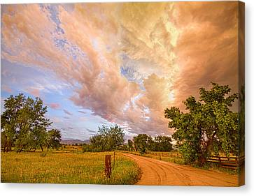 Country Road Into The Storm Front Canvas Print by James BO  Insogna