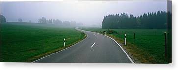 Country Road With Fog, Near Vies Canvas Print