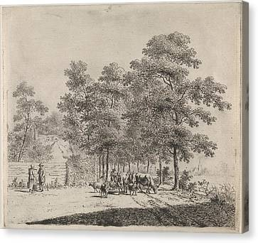Country Roads Canvas Print - Country Road With Shepherd And Cattle, Johannes Christiaan by Johannes Christiaan Janson