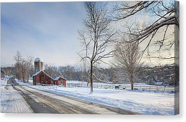 Red Barn In Snow Canvas Print - Country Roads Winter by Bill Wakeley