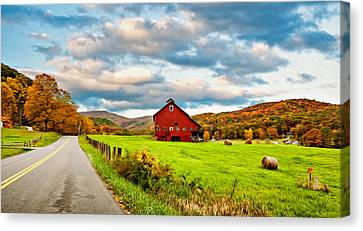 Country Road...west Virginia Oil Canvas Print by Steve Harrington