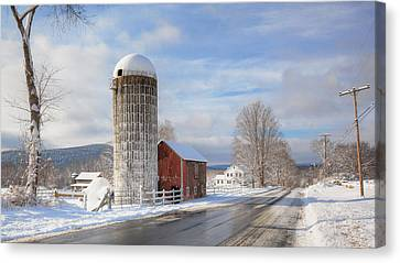 Red Barn In Snow Canvas Print - Country Snow by Bill Wakeley