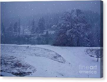 Country Snowstorm Landscape Art Prints Canvas Print by Valerie Garner