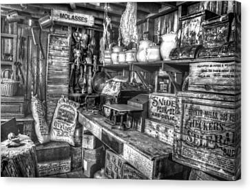 Country Store Supplies Black And White Canvas Print by Ken Smith