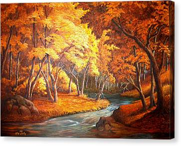 Country Stream In The Fall Canvas Print by Loxi Sibley
