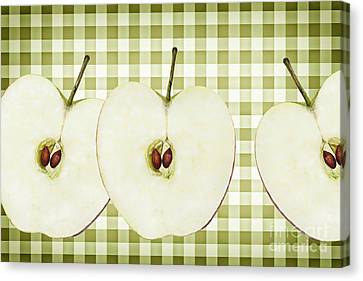 Country Style Apple Slices Canvas Print by Natalie Kinnear