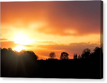 Country Sunset Silhouette Canvas Print