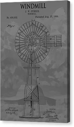 Mountain Cabin Canvas Print - Country Windmill Patent by Dan Sproul