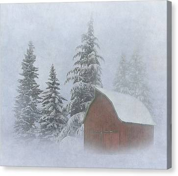 Red Barn In Snow Canvas Print - Country Winter by Angie Vogel