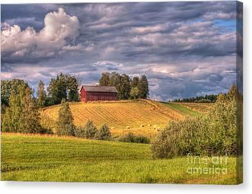 Countryside In Sweden Canvas Print by Caroline Pirskanen