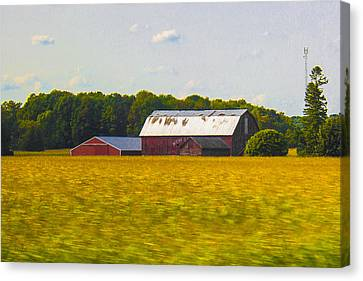 Earth Tones Canvas Print - Countryside Landscape With Red Barns by Ben and Raisa Gertsberg