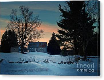 Countryside Winter Evening Canvas Print by Joy Nichols