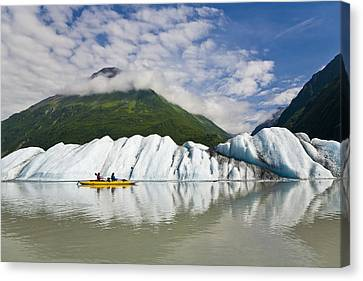 Inflatable Canvas Print - Couple Exploring Valdez Glacier Lake In by Michael DeYoung