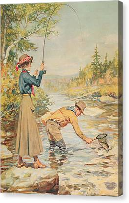 Couple Fishing On A River Canvas Print by Anonymous