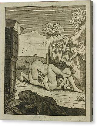 Couple Having Oral Sex Outdoors Canvas Print by British Library