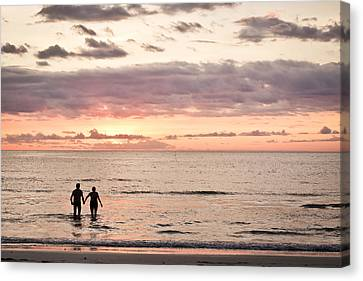 Couple In The Sea Canvas Print
