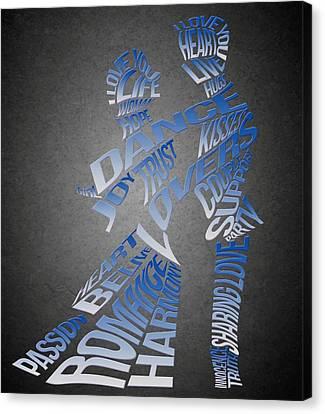 Couple Love Typography Canvas Print by Georgeta Blanaru
