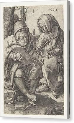 Couple Making Music, Lucas Van Leyden Canvas Print by Lucas Van Leyden