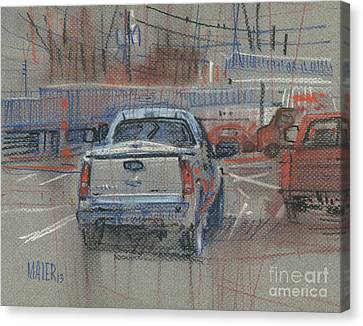 Canvas Print featuring the painting Couple Of Chevys by Donald Maier