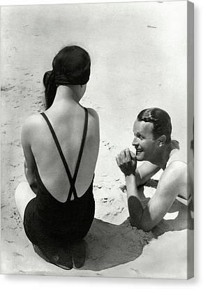 Man Canvas Print - Couple On A Beach by George Hoyningen-Huene