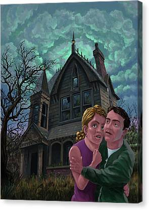 Couple Outside Haunted House Canvas Print