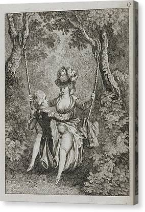 Couple Swinging On A Swing Canvas Print