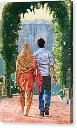 Couple Under The Leafy Arch Canvas Print by Dominique Amendola