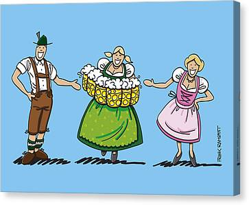 Couple Welcomes Oktoberfest Beer Waitress Canvas Print by Frank Ramspott
