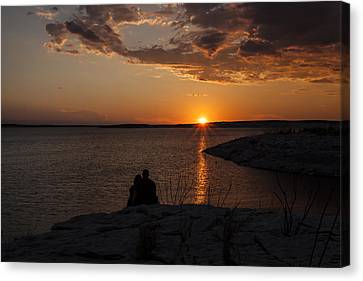 Couple's Sunset In The Desert Canvas Print by Amber Kresge