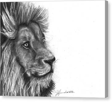 Canvas Print featuring the drawing Courage Of A Lion by J Ferwerda
