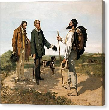 Courbetgustave 1819-1877. The Meetingor Canvas Print by Everett