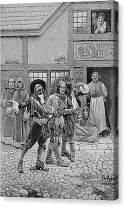 Coureurs De Bois, Engraved By G.e. Johnson, Illustration From Canadian Voyageurs On The Saguenay Canvas Print by Howard Pyle