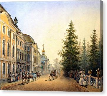Court Departure At The Main Entrance Of The Great Palace Canvas Print by Vasili Semenovich Sadovnikov