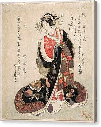 Courtesan Dressed In An Elaborate Gown Embroidered With Emblems Of Good Luck Canvas Print
