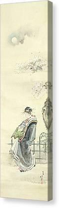 Courtesan Out For A Walk Canvas Print by Katsushika Hokusai