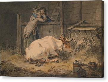 Courtship In A Cowshed Canvas Print by Julius Caesar Ibbetson