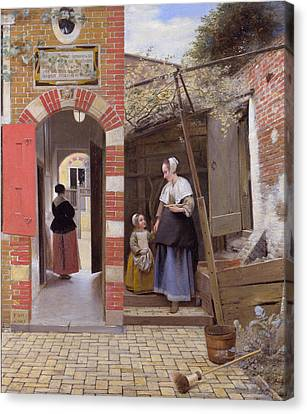 Courtyard Of A House In Delft Canvas Print