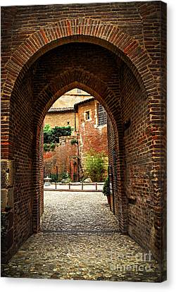 Courtyard Of Cathedral Of Ste-cecile In Albi France Canvas Print by Elena Elisseeva