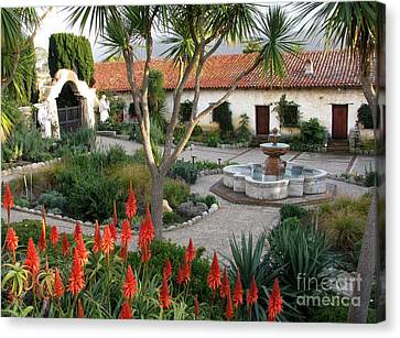 Courtyard Of The Carmel Mission Canvas Print by James B Toy