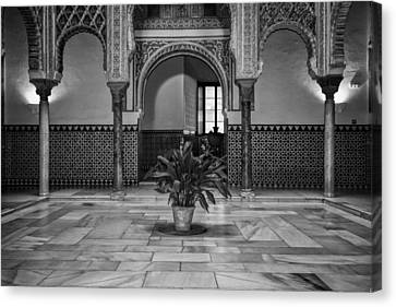 Courtyard Of The Dolls Bw Canvas Print by Joan Carroll