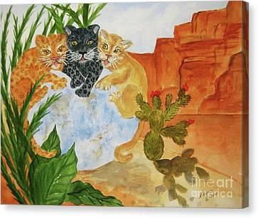 Surreal Landscape Canvas Print - Cousins - Big Cats by Ellen Levinson