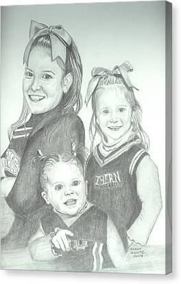 Canvas Print featuring the drawing Cousins by Sharon Schultz