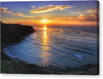 Palos Verdes Cove Canvas Print - Cove Sunset by Victoria Mann