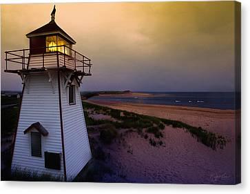 Covehead Lighthouse At Sunset Canvas Print by Kasandra Sproson