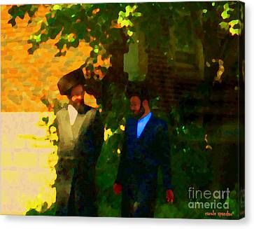 Covenant Conversation Two Men Of God Hasidic Community Montreal City Scene Rabbinical Art Carole Spa Canvas Print by Carole Spandau
