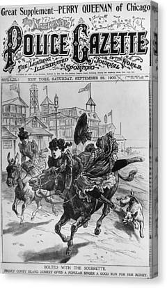 Cover Of The Police Gazette Canvas Print by Underwood Archives