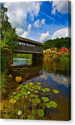 Covered Bridge Across A River, Vermont Canvas Print by Panoramic Images