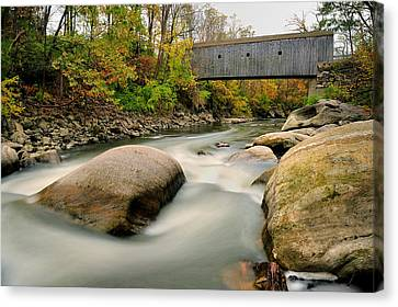 Covered Bridge At Bull Run - Kent Connecticut Canvas Print by Thomas Schoeller